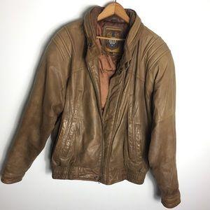 Brown Leather Moto Boho Utility Jacket